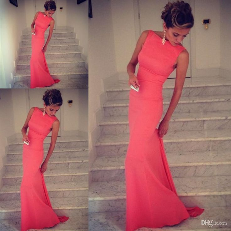 Wholesale Evening Dresses - Buy Formfitting Sheath High Neck Formal Long Coral Evening Dress Event Gown WL164, $116.0   DHgate