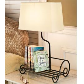 Bookshelf Lamp,Finally! An organized place for your books on the nightstand.