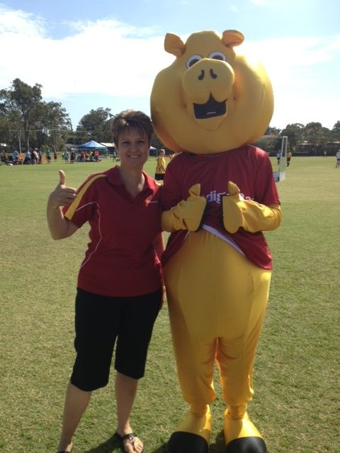 """Sandra and """"Piggy"""" out and about supporting a local community event!"""