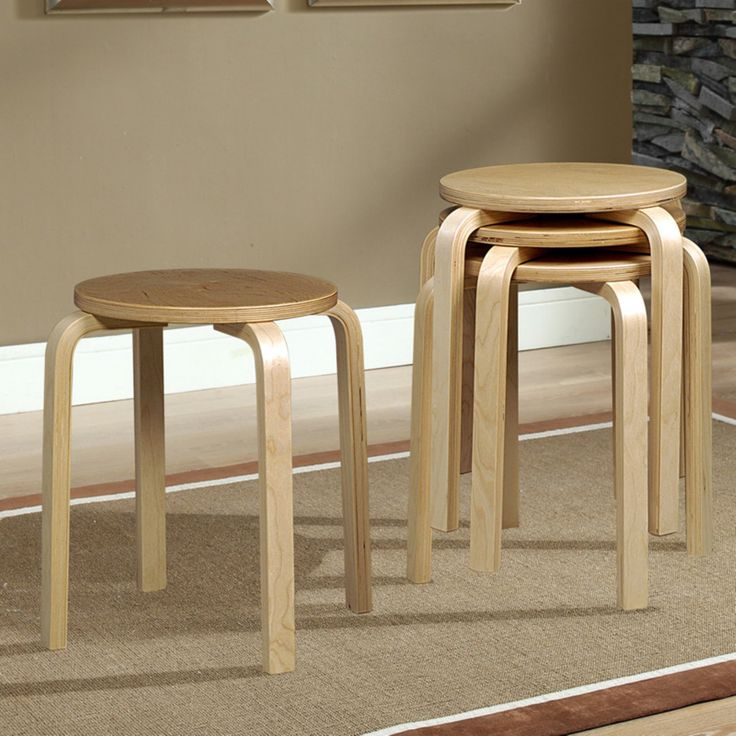 Linon Bentwood Stackable Short Stool - 17 in. - Set of 4 - 1771NAT-04-AS-U