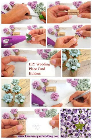 includes a diy video for making single wine cork place card holders using handmade flowers by
