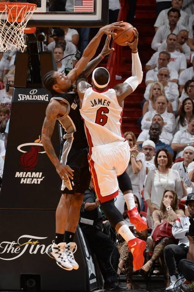 Kawhi Leonard blocking LeBron James in gm.4 of the 2014 NBA Finals #Spurs #Heat