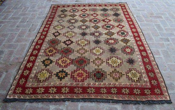 Size: 217 x 169 cm, Beautiful Handmade Vintage Afghan Best Quality Soumak Area Kilim, Decorative Han