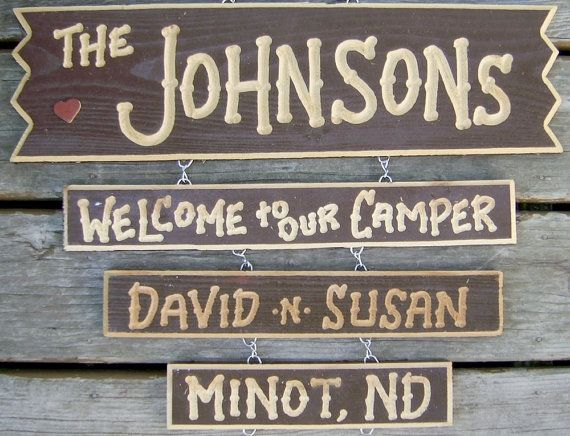 Carved Personalized Family Wood Signs Camper Camping by signcarver, $49.00