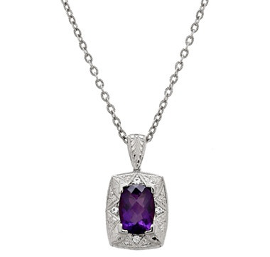 Generations 1912 Amethyst & White Sapphire Sterling Silver Pendant with Chain - RHODIUM PLATE 466-103ilovetoshop