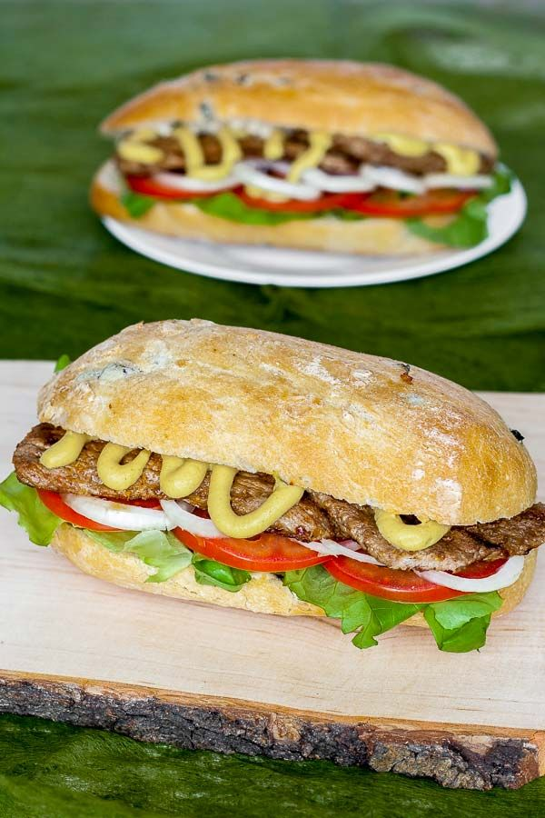 Delicious Irish sandwich with grilled beef and horseradish
