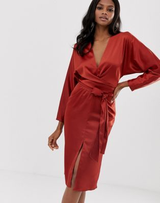 a68e8cb5c574 DESIGN midi dress with batwing sleeve and wrap waist in satin in ...