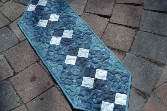 Blue Cat Patchwork Quilted Table Runner Double