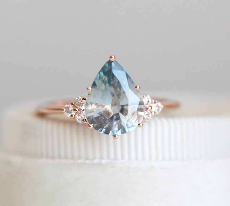 Light Jeans Blue Sapphire Ring, Pear Sapphire Diamond Ring, 2.37ct Sapphire Enga…