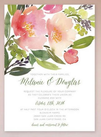 Gorgeous Watercolor Wedding Invitations // Watercolor Floral Wedding Invitations.  With blooms as beautiful as spring, these pink, peach and green watercolor invitations with script style font are nothing short of darling!