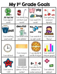 This simple one page skill goal sheet that is a fun and very visual way for the kids to see what first grade skills they have mastered. When a skill has been mastered, the child can put a sticker in the box. Excellent motivation to meet first grade goals. It can be kept in data folders or even given to parents and parent teacher conferences to keep parents informed on what their child is learning.