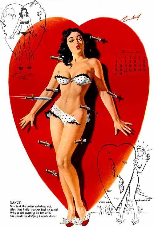 Illustration by Bill Randall c. 1950's: Girls, Pinups, Valentines, Pin Up Girl, Vintage Pin, Bill Randall, Pin Up Art, Pinup Girl, Pin Ups