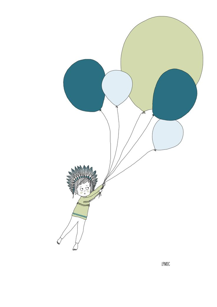 """""""Petit Indien"""" illustration enfant, indien, ballons, bleu ciel, bleu pétrole, vert amande, affiche enfant, décoration enfant, LPMDC"""