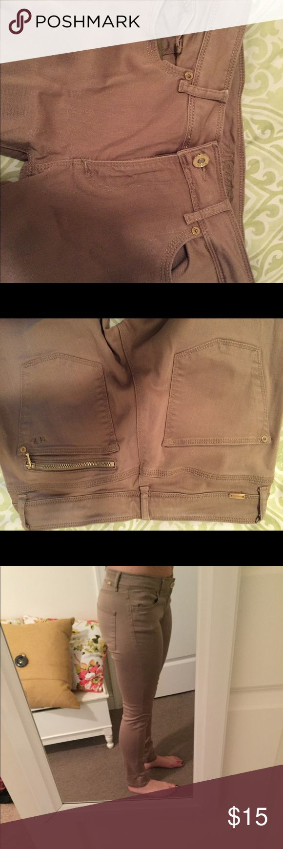 Cute Tan Skinny Jeans Perfect jeans to go with a white top! Good jeans for work too. Never worn! Z1975 Jeans Skinny
