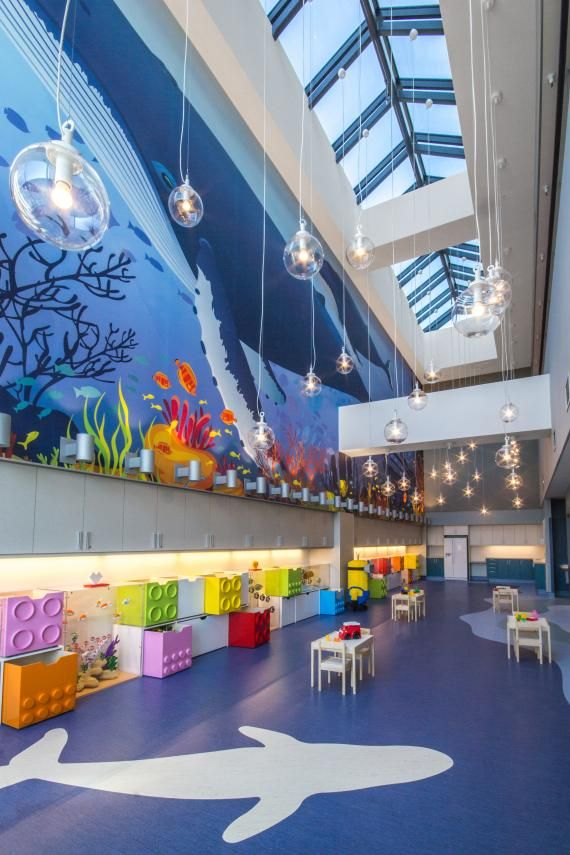 PHOTO TOUR: Shriners Hospital for Children, Montreal, Quebec | Healthcare Design --- The double-height therapeutic play room is reminiscent of an undersea adventure. Photo: David Dworkind