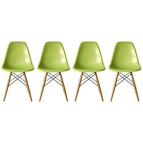 Eames-Style-Side-Chair-Natural-Wood-Legs-Dining-Room-Set-4-Green-Plastic-Seat