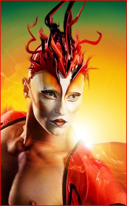 [Cirque du Soleil] This is more like a head piece, and again a bold cap, because it is for an acrobatic act. but a beautiful example for incooperating hair with make-up. The colours go very well with each other and it suits the whole show when you look at the whole image.