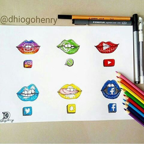 Social Media Drawing Lips