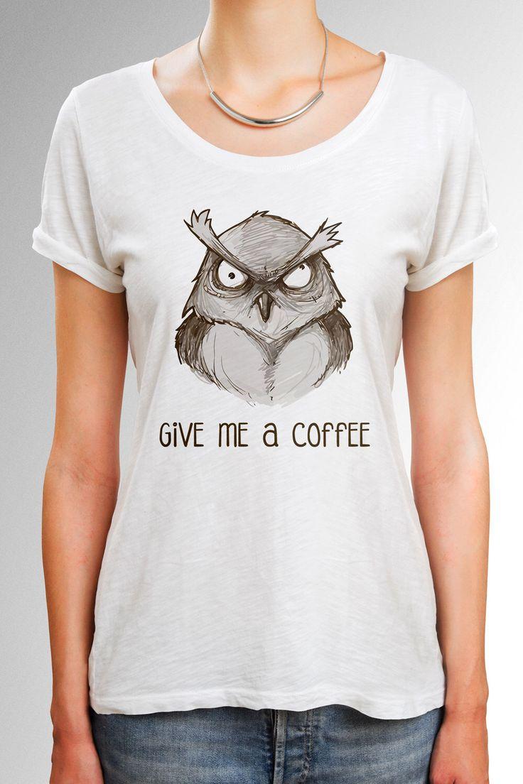 Design t shirt idea - Owl Shirt Coffee Shirt With Angry Owl Design Owl T Shirt Coffee T