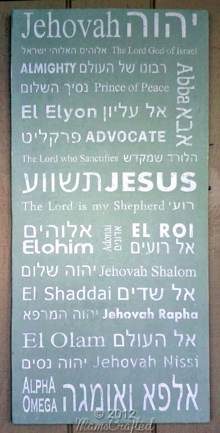 Names of God, Hebrew & English, Subway Art via MamsCrafted on Etsy. Jehovah, The Lord God of Israel, Almighty, Prince of Peace, Abba, El Elyon, Advocate, The Lord Who Sanctifies, Jesus, Shepherd, Elohim, Shalom, El Shaddai, Jehovah Rapha, El Olam, Jehovah Nissi, Alpha & Omega.