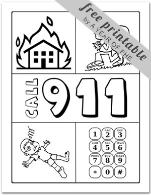 Emergency preparedness worksheet for kids - use it to reinforce home safety and practice dialing those emergency numbers that are important! Or color 911. Best use is always with a real phone so that they'll know what it's like to work with it, but this is great reinforcement for the PreK set!