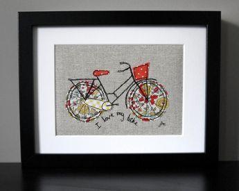 Framed freestyle machine embroidery - I love my bike orange and yellow