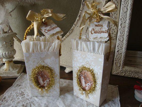 Christmas gift bag Vintage style cute deer party by PaperAndMache