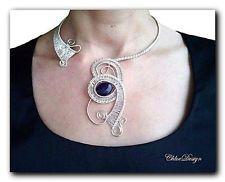 majstrovanie pdf Tutorial drôt Tkanie šperky ametyst Collar, svadba, striebro…