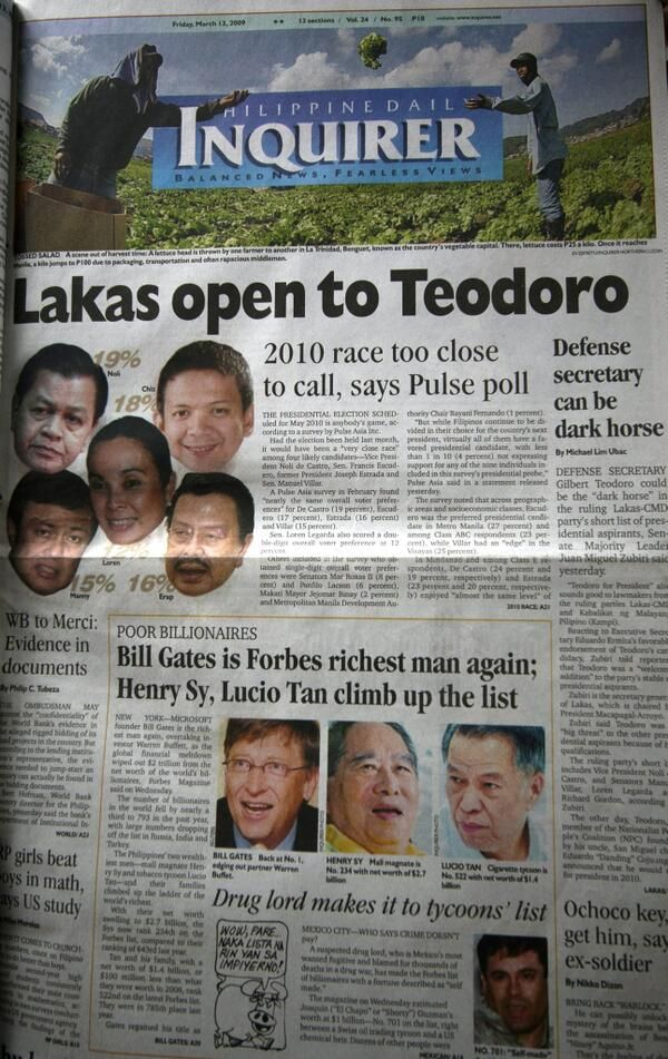 The front page of the Philippine Daily Inquirer on March 13, 2009: 'Lakas open to Gibo Teodoro'; 2010 race too close to call, says Pulse. #Philippines #politics #elections  pic.twitter.com/cMLXXYyj80