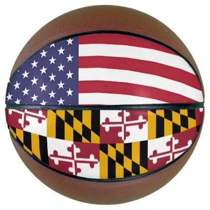 Fullsize Basketball with Flag of Maryland USA - elegant gifts gift ideas custom presents
