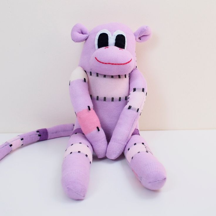Sock Monkey - Sock Doll - Sock Toy - Plush - Lavender by Handmadeley on Etsy