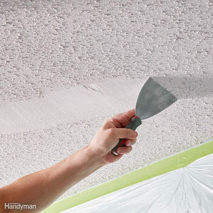 Do a scrape test - Before you go to all the trouble of prepping the room, try scraping a small area. Try it dry first, then dampen the texture with water and try again. Some texture comes off easily without water, but in most cases wetting is best. If the water doesn't soak in and soften the texture, the ceiling has probably been painted or paint was added to the texture mix. In that case, wetting the ceiling may not help, and you'll have to decide whether you want to tackle a really tough…