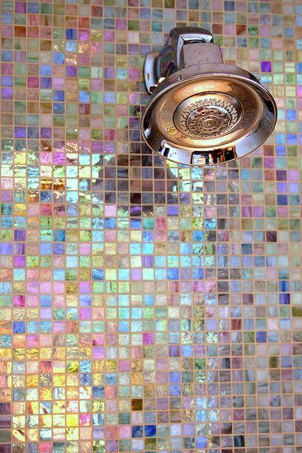 Iridecesent shower tiles!! Perfect for your teens bathroom!!