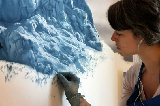 A visually stunning series of representative iceberg landscape paintings in pastels by Zaria Forman.