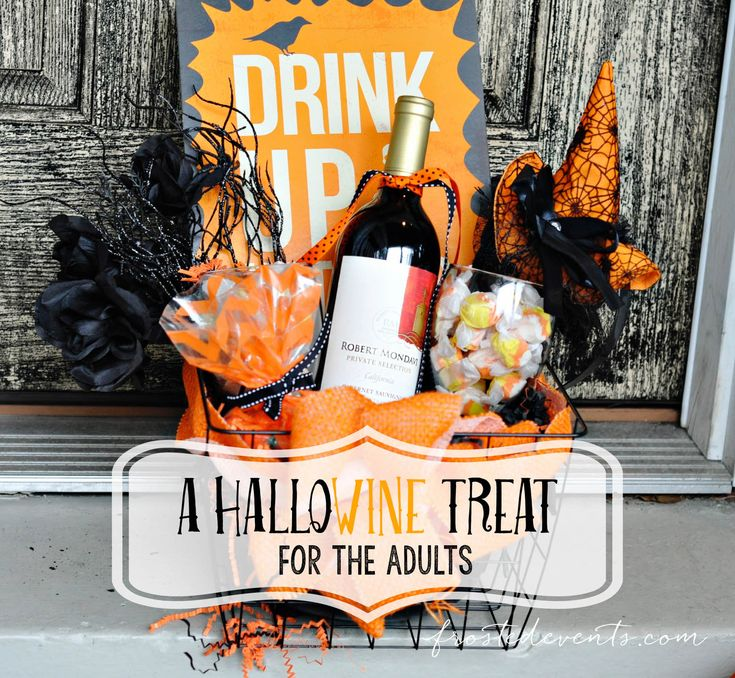 Msg 4 21+ DIY this fun HalloWINE basket for your favorite momma! Get in on the You've Been BOOed fun with this fun Halloween idea + recipe for Pumpkin Cheesecake Brownies #ad #HalloWINE #BeenBOOed