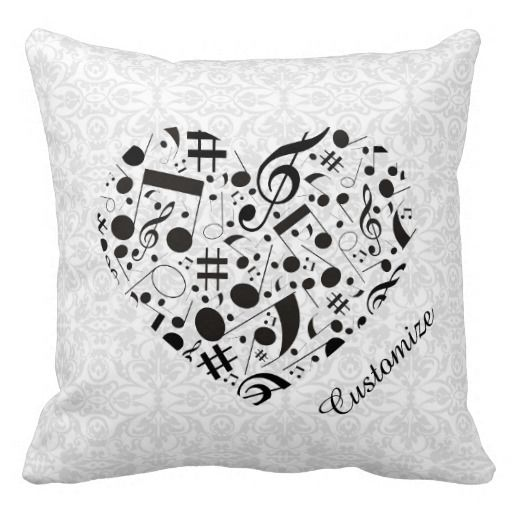 Black and White Music Notes Heart Throw Pillow