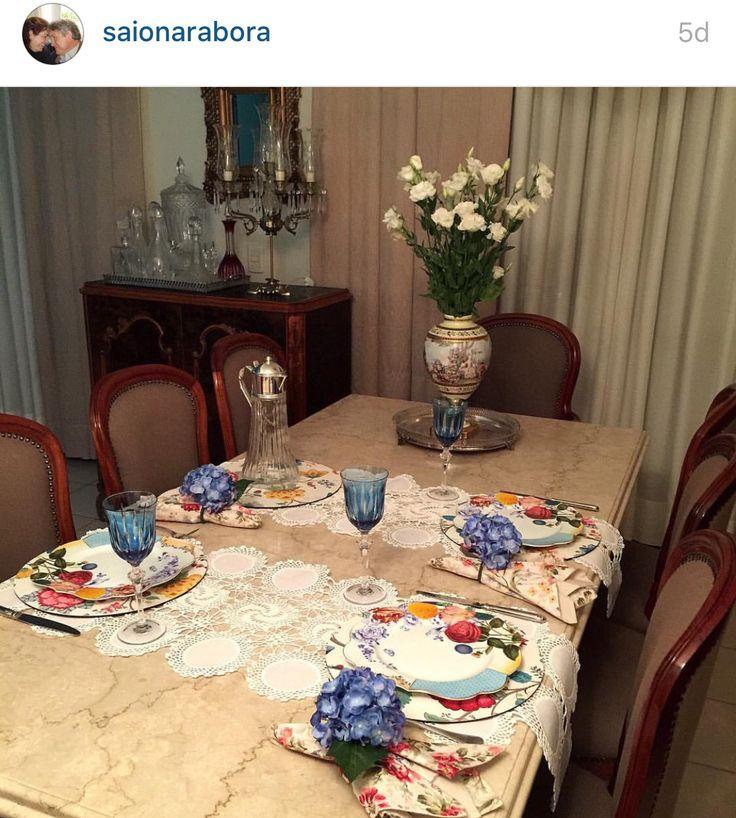 Decoração mesa jantar patchwork portaguardanapos