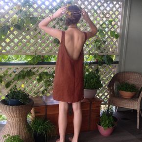 Terracotta Linen Dress - Backless Sundress - Rust Coloured Dress -Scoop Back Dress -Linen Summer Dress -Loose Dress - Boho Dress -Tank Dress