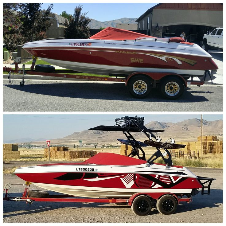 Before and after pics of Customer installed  custom boat kit made by us