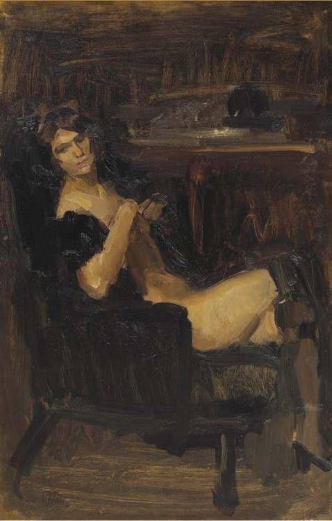 Isaac Israëls - Zittende dame in het zwart