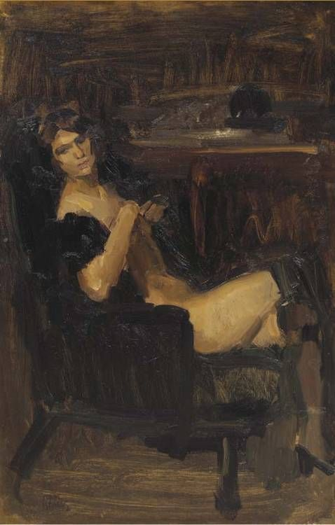 A seated lady in black<br>signed 'Isaac/Israels' (lower right)<br>oil on canvas<br>80.5 x 52 cm.