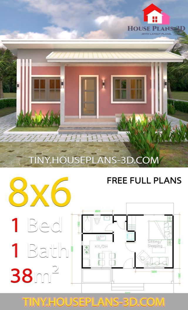 Small House Plans 8x6 With One Bedrooms Shed Roof Tiny House Plans Tiny House Plans Small House Tiny House Design