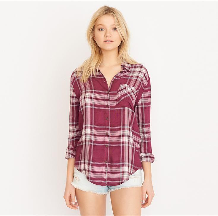 Berry Mauve Super Soft Plaid Shirt