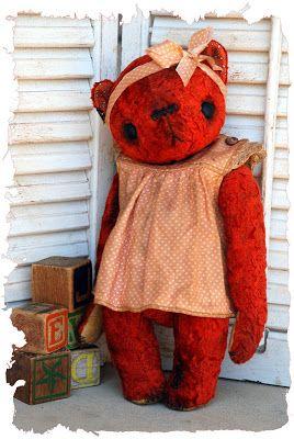 Мои примитивные систы: винтажный плюшевый медведь ... Валентин :)
