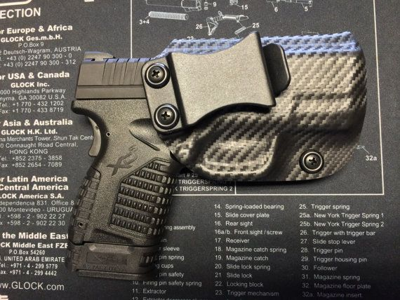 Springfield Armory XDS 3.3 (45/9mm) Custom Holster / IWB / RHanded - Carbon Fiber Black