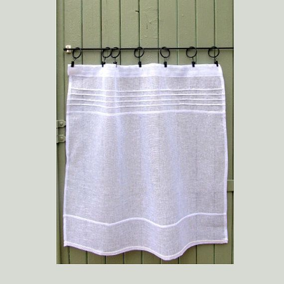 """Custom White French Kitchen Curtain, Linen Cafe Curtain, Sheer White Curtain, Shabby, Cottage Chic, 36"""" x 24"""". $50 from France."""