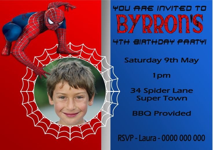 Spiderman Invitation $12AUD emailed to you - you print and frame PAYPAL ACCEPTED!  Order here  www.facebook.com/readyforprint