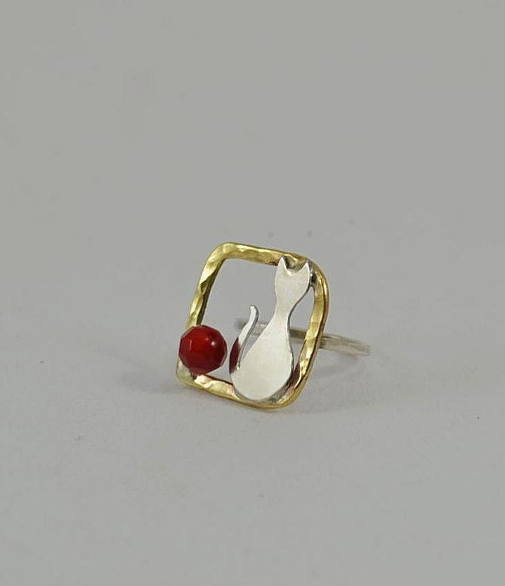 Cat Lover Ring, Sterling Silver & sea coral, handmade Cat Jewelry, Unique modern Cat adjastable Ring by JimCreations on Etsy