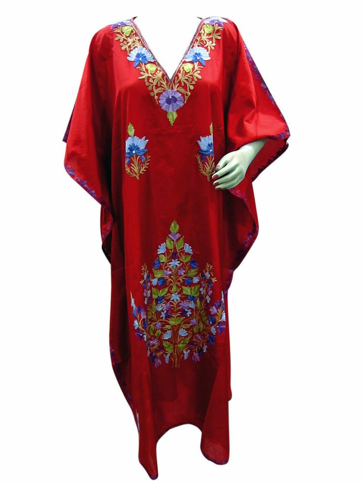 Bohemian Dress Designer Kaftans Red Embroidered Nightgown