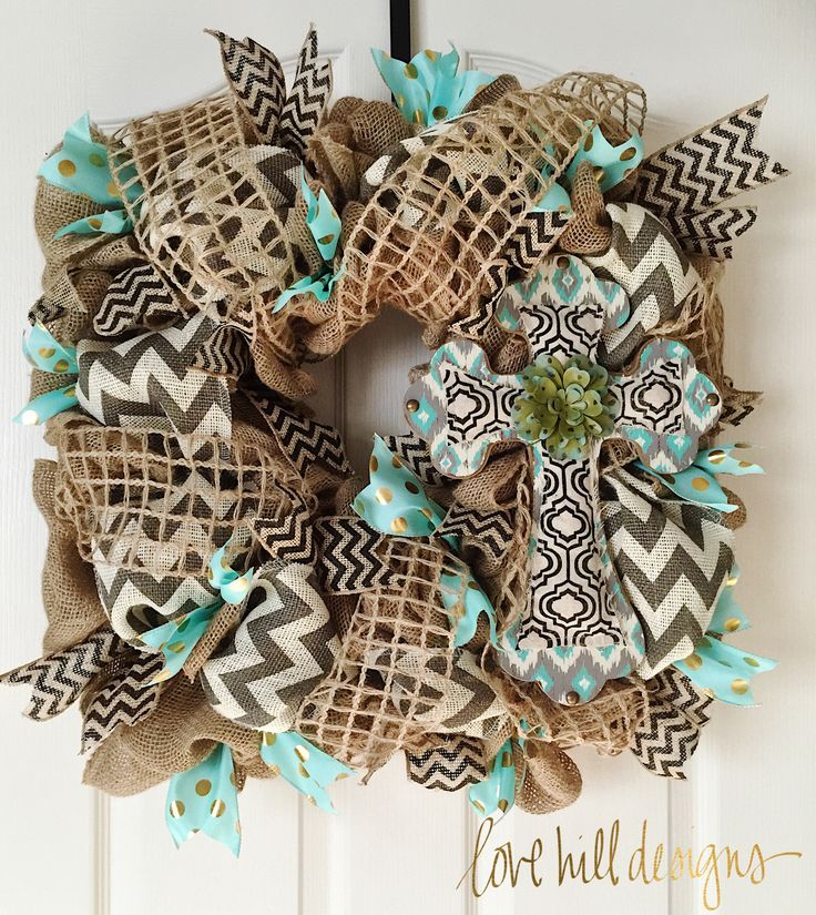 Beautiful square burlap cross wreath. #lovehilldesigns